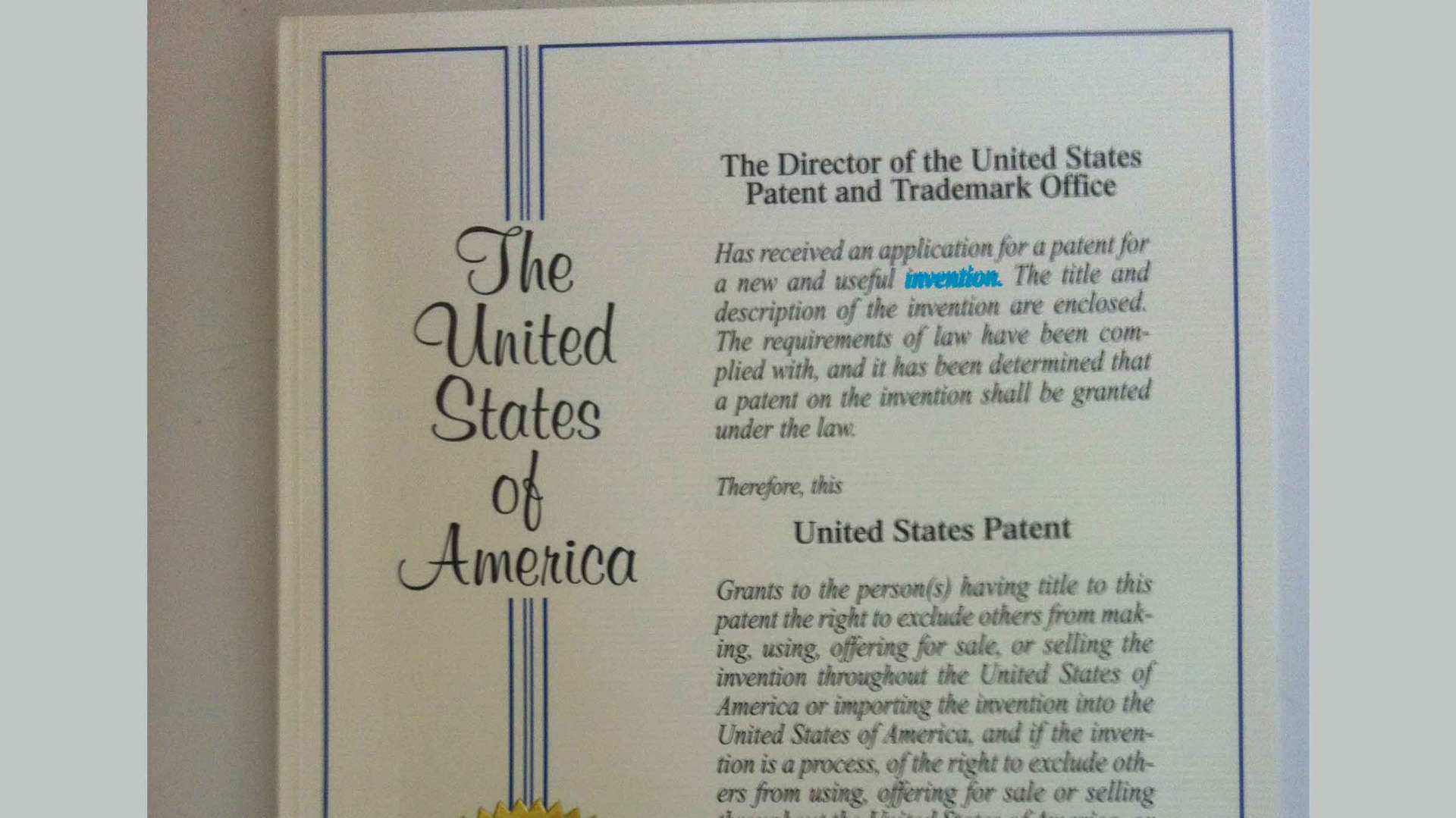US Patent Cert – Absolutely Fantastic
